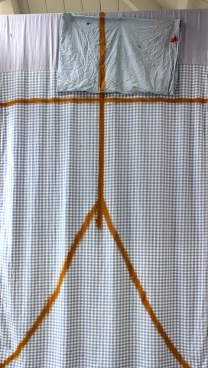 Study of Harrison's Parrot. 2014. blanket, pillow case, tar. 200cm x 180cm.