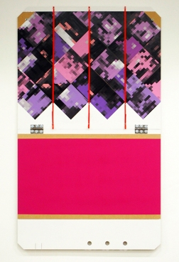 For Palias de Tokyo. 2015. Digital prints, ribbon, acrylic, MDF and hinges. 125cm x 55cm.
