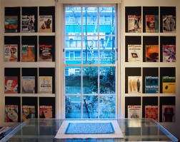 Windows on the World. 2016. Printed text with 24 front covers mounted on card.