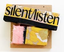 Silent/Listen. 2016. timber and screen-printed vintage fabrics. 35cm x 35cm x 10cm.