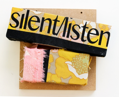 Silent/Listen. 2016. timber and screen-printed vintage fabrics. 35cm x 35cm x 10cm.