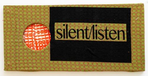 Silent/Listen. 2016. timber and screen-printed vintage fabrics. 20cm x 35cm x 5cm.