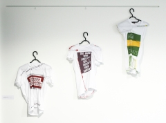 Installation shot at Kentish Town Health Centre, London. Wearwithal. 2016. fifteen screen-printed T-shirts. Size M.
