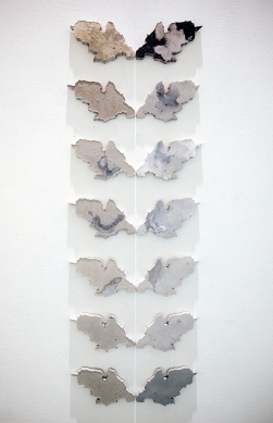 Metamorphoses (1-14). 2016. Iron, coal & limestone in resin. 14cm x 20cm x 1cm.