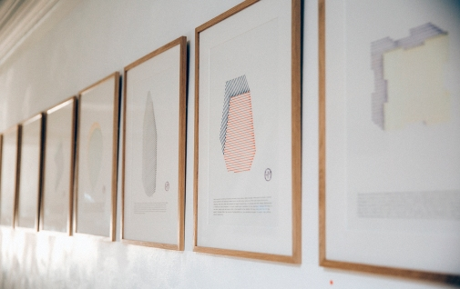 Installation shot of Fabrications (1-15). 2016. Framed ink drawings on paper.