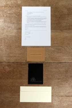 Proverbs (Commissions). Laser-etched card, notebook, contract & envelope.
