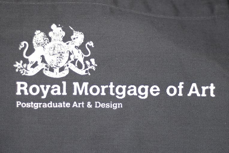 Royal Mortgage of Art. 2017. Screen-printed aprons. 110cm x 75cm.